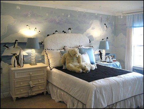 penguin bedroom decorating-winter wonderland theme rooms-penguin themed bedroom ideas