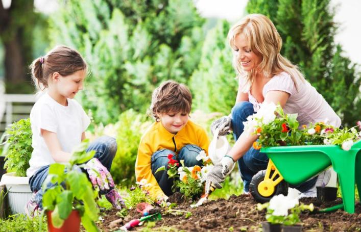 Mother, daughter and son planting flowers together.