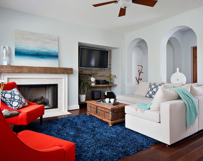 Beach-style-living-room-with-lovely-pops-of-color